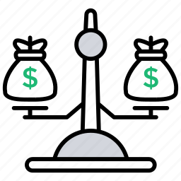 balancing, money balance, weighing money, weight, weight balance icon