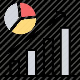 bar chart, economic growth, financial growth, growth statistics, pie chart icon