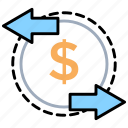 business transaction, currency exchange, financial transaction, money transfer, wire transfer icon