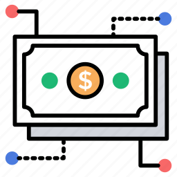 financial stability, flow of money, income, investment, revenues icon