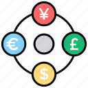 currency exchange, foreign exchange, international transaction, money exchange, money transfer icon