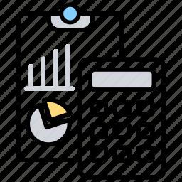accounting, accounts, calculating, data compilation, record sheets icon