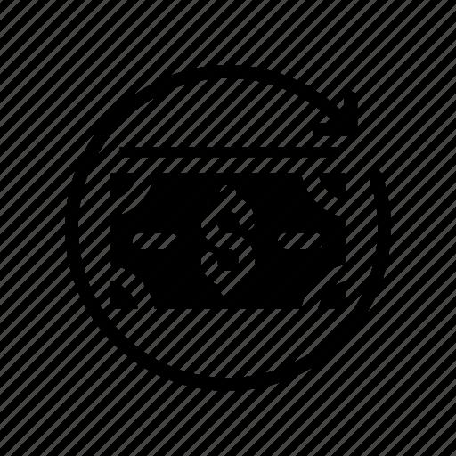 dollar, exchange, finance, money, reload icon