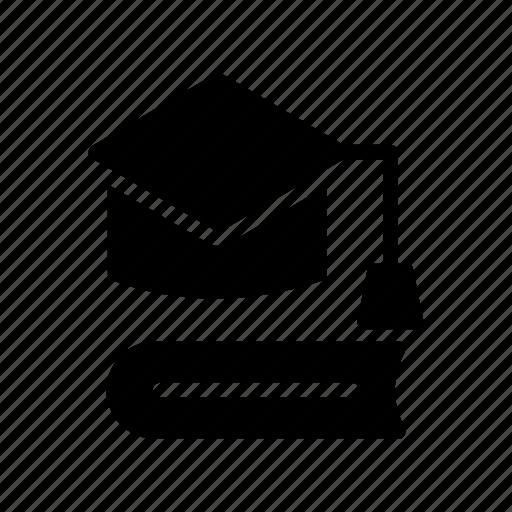 book, cap, diploma, graduate, hat icon