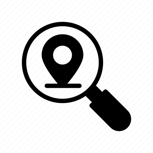 find, magnifier, map, pin, search icon