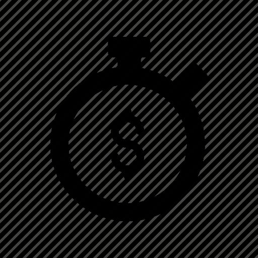 clock, countdown, dollar, stopwatch, timer icon