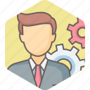 business, gear, man, options, person, preferences, settings icon
