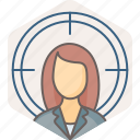 aim, bullseye, female, focus, girl, goal, target icon