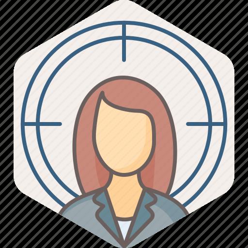 aim, bullseye, female, focus, girl, goal, target icon