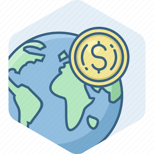 business, country, dollar, map, revenue, sales, turnover icon