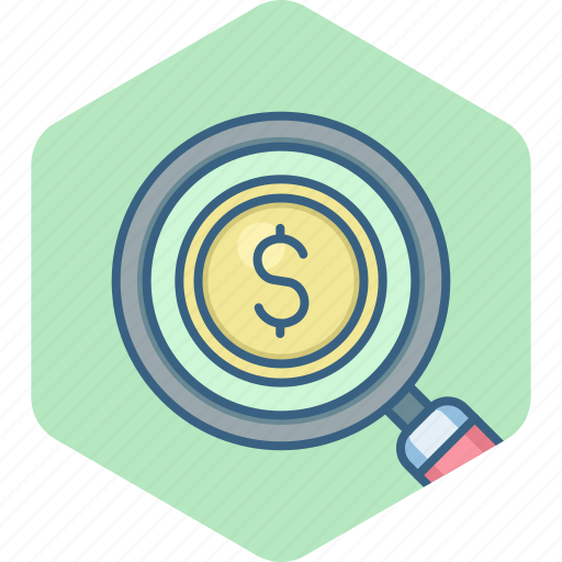 cash, currency, dollar, finance, magnifier, money, search icon