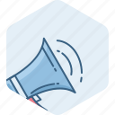 audio, bullhorn, instrument, marketing, megaphone, music, sound icon