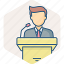 announce, announcement, conversation, man, message, podium, speech icon