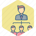 business, hierarchy, lead, man, organization, structure, team icon