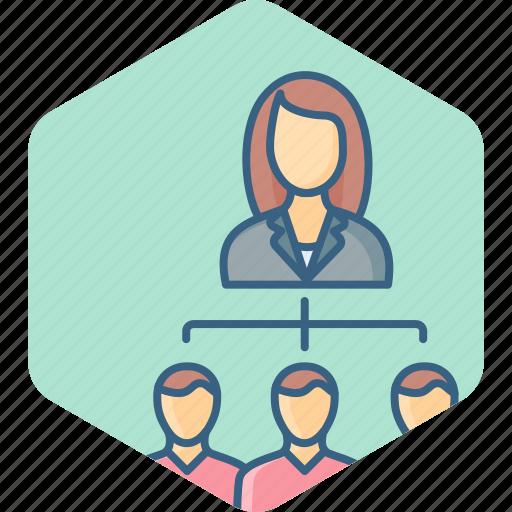 business, hierarchy, lead, leader, organization, team, woman icon