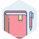 address, book, bookmark, contact, pen icon