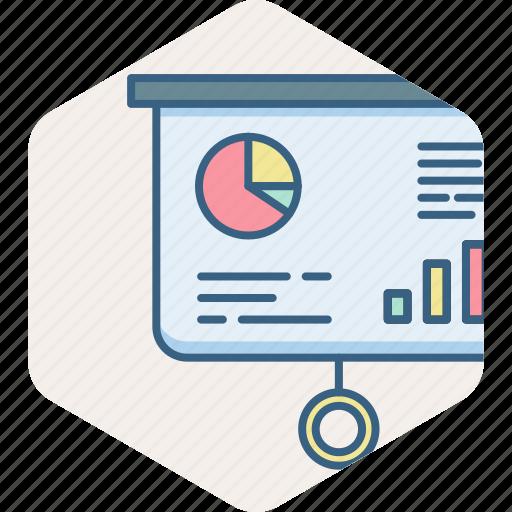 analysis, analytics, business, chart, presentation, projector icon