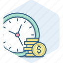 dollar, finance, guardar, money, save, savings, time icon