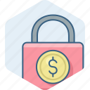 cash, currency, dollar, lock, money, safety, security icon