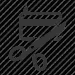 credit card, cut, scissor icon