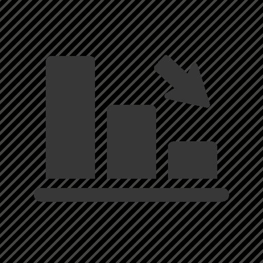 bar chart, down, falling, graph icon