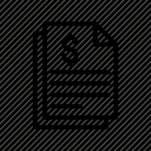 bill, document, files, invoice, sheet icon