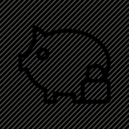 bank, finance, lock, piggy, secure icon