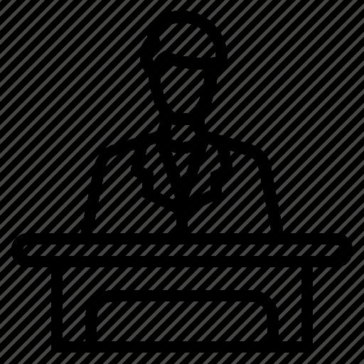 business, business entrepreneur, businessman, employee, entrepreneur, man behind desk, man working icon