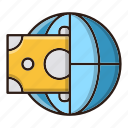 business, finance, globe, money, payment icon
