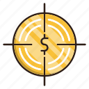 business, finance, funds, goal, hunting icon