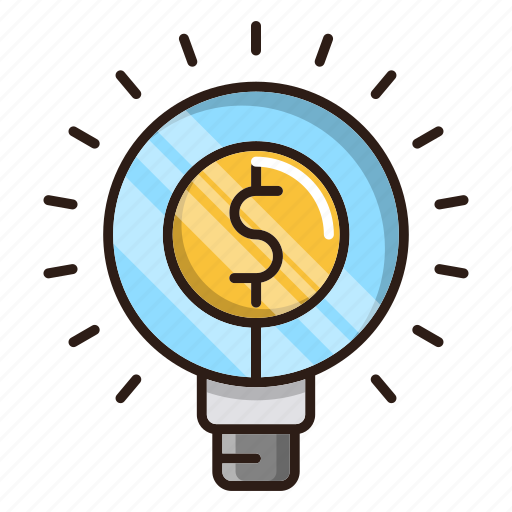 bulb, business, finance, idea, money icon