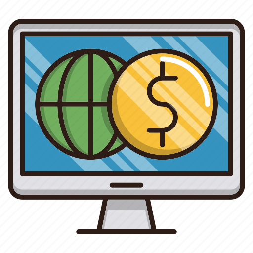 business, finance, global, monitor, online, web icon