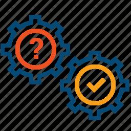 advice, cogwheels, consultation, debate, diagnostics, faq, help, interview, question, support icon