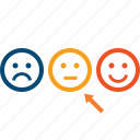 client, feedback, loyalty, mark, rank, reaction, recommend, review, satisfaction, satisfied, smiles icon