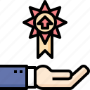advance, business, hand, level, promote, success, up icon