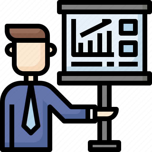 boss, business, leader, meeting, presentation, report, training icon