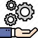 business, cog, gear, hand, planning, processing, working icon