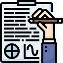 business, chart, hand, information, process, report, writing icon