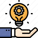 bulb, business, creative, gear, hand, idea, think icon