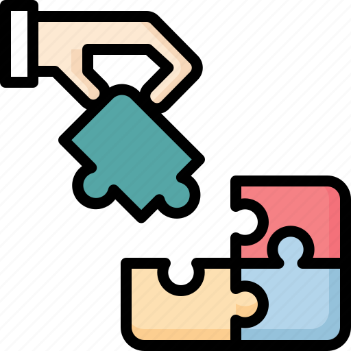 business, hand, jigsaw, management, planning, strategy, workflow icon