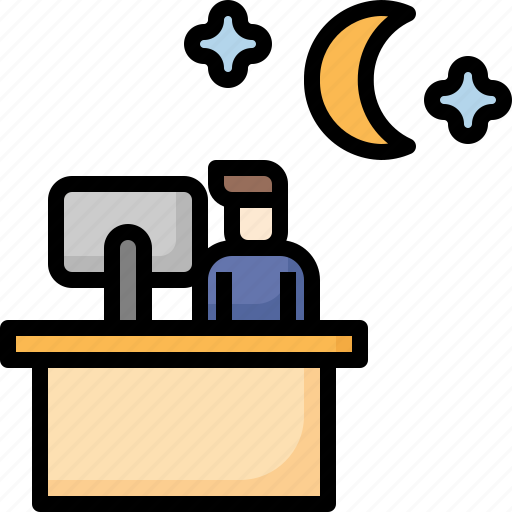 Moon, night, office, overtime, shift, work, working icon - Download on Iconfinder