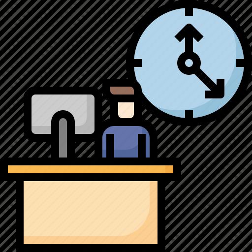 Business, clock, deadline, laptop, management, office, time icon - Download on Iconfinder