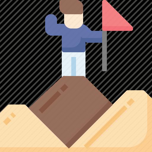 Business, destination, flag, man, mountain, success, winner icon - Download on Iconfinder