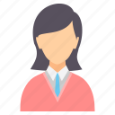 education, female, girl, lady, science, student, teacher icon