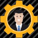 audit, businessman, gear, market target, marketing, optimization, seo icon