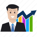 analytics, boss, business, businessman, dollar, graph, seo icon