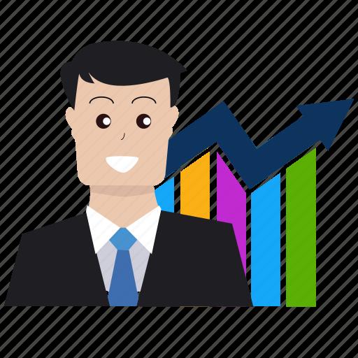 analytics, boss, business, businessman, dollar, graph, seo icon
