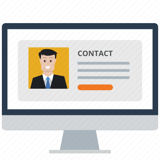 business, communication, computer, contact, customer service, men, portfolio icon