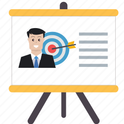 analytics, business, conference, powerpoint, presentation, screen, targeting icon