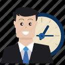 boss, business, businessman, deadline, optimization, time, watch icon